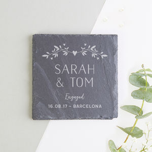 Personalised Slate Coaster Engagement Gift - engagement gifts