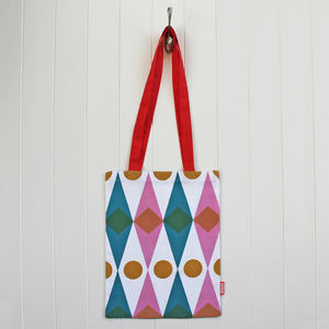 Book Bag In Diamond Design - winter sale