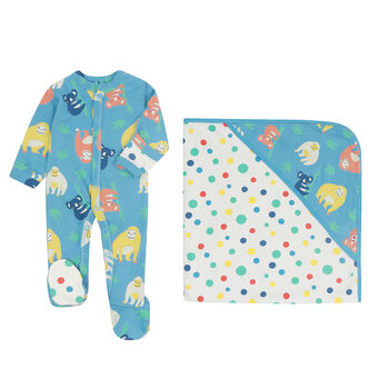 Newborn And Baby Organutan Sleepsuit And Shawl Set