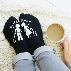 Personalised Life Goals Socks - love tokens