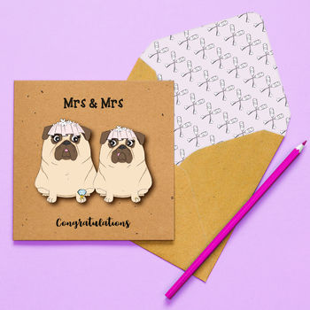 Handmade Mrs And Mrs Pug Same Sex Wedding Card
