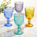 Set Of Four Vintage Embossed Wine Goblets