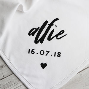 Personalised Baby Name And Date Blanket
