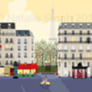 Paris Street Scene At Dawn Or Dusk Art Print