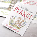 soft back personalised book showing pregnant woodland characture and interior pages behind