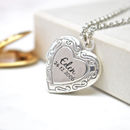 Engraved Name And Date Heart Locket Necklace
