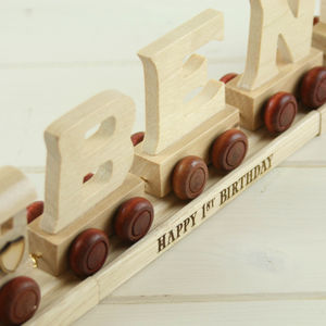 Personalised Wooden Name Train With Display Track - christening gifts