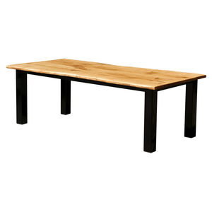 Oak And Iron Large Dining Table Dry - garden furniture