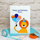 'Lion' Personalised Childrens Birthday Card
