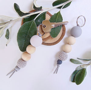 Wooden Bead Keyring - keyrings