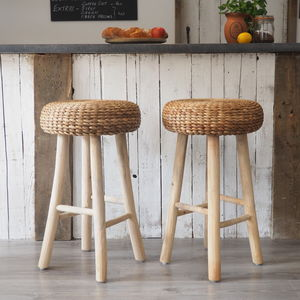 Wood Bar Stool With Wicker Seat Round Or Square Seat - kitchen