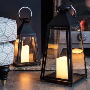 Set Of Two Charcoal Trapeze Candle Lanterns