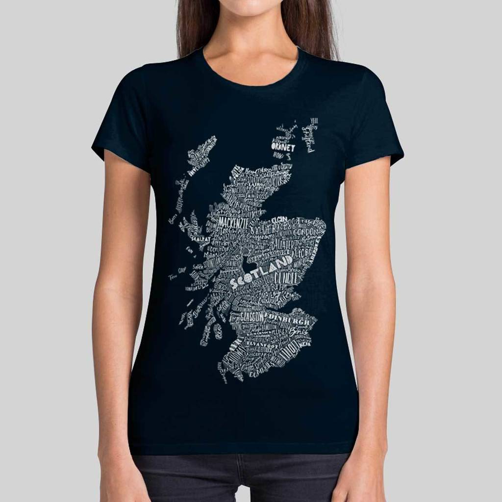 235027986032d women s illustrative scottish map t shirt by gillian kyle gift   home