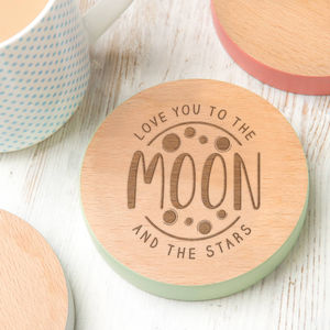 'To The Moon And The Stars' Coloured Edge Coaster