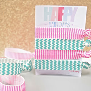 Chevron And Stripe Elastic Hair Ties Set Of Four