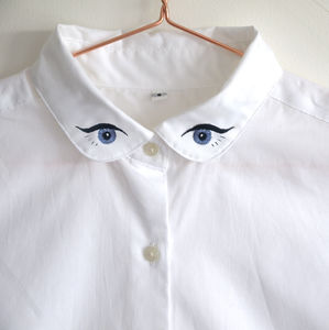 Embroidered Shirt With Eye Collar - women's fashion