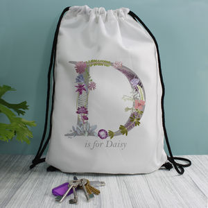 Personalised Name Kids School And Gym Draw String Bag