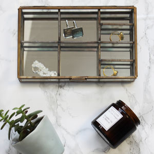 Brass And Glass Compartment Jewellery Box - jewellery storage & trinket boxes