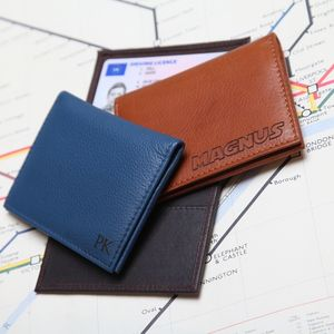 Personalised Leather Travel Card / ID Holder