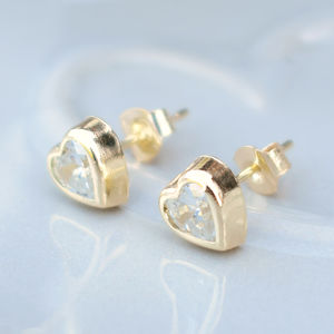 9ct Gold Bezel Set Cubic Zirconia Heart Earrings - earrings
