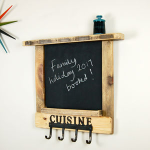 Wooden Chalkboard Shelving Unit With Hooks