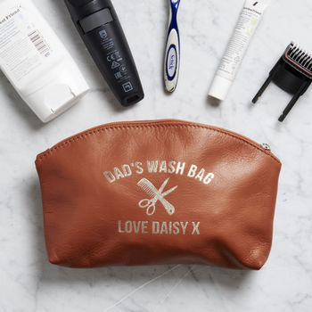 Personalised Men's Leather Zip Wash Bag
