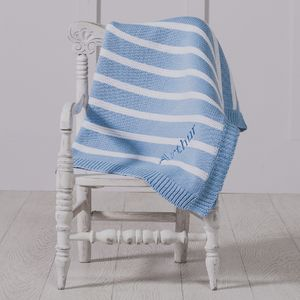 Personalised Striped Blue Baby Blanket - baby's room