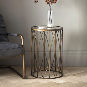 Bronze Metal Side Table With Antique Mirror Top - side tables
