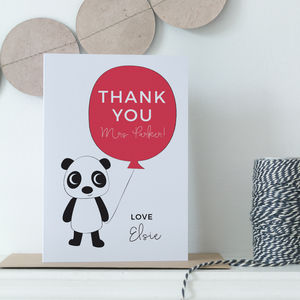 Personalised Teacher Thank You Panda Card