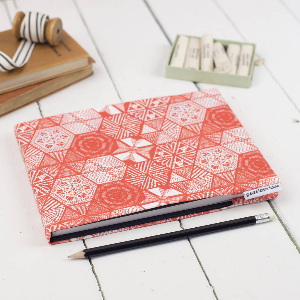 Hexie Doodle Coral Sketchbook Or Notebook