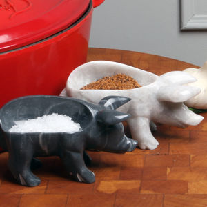 Marble Piggy Pinch Pot - salt & pepper pots