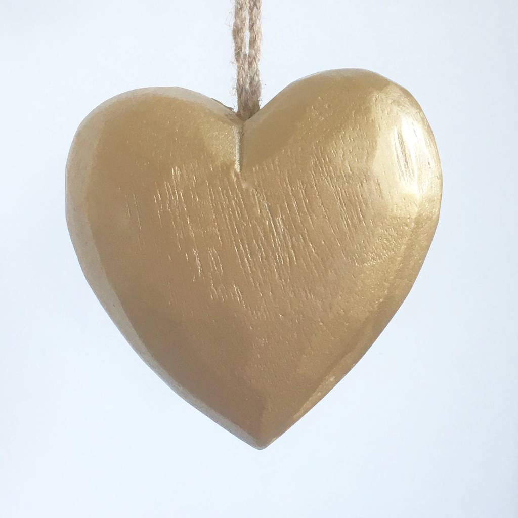 Large Gold Wooden Hanging Heart Decoration