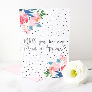 Will You Be My Maid Of Honour? Polka Dot Card