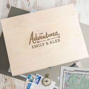 'Adventures' Personalised Anniversary Gift Keepsake Box - storage & organisers