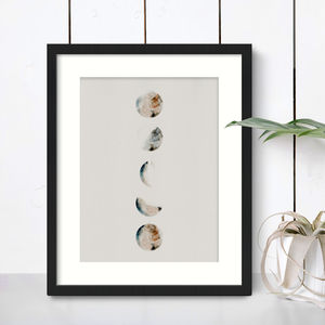 Grey Cosmic Moon Phases Print