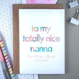 Totally Nice Nanna | Personalised Birthday Card - general birthday cards