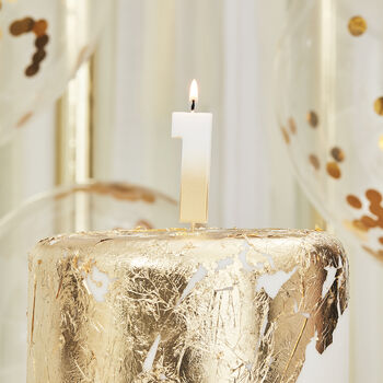 Gold Ombre One Number Birthday Candle