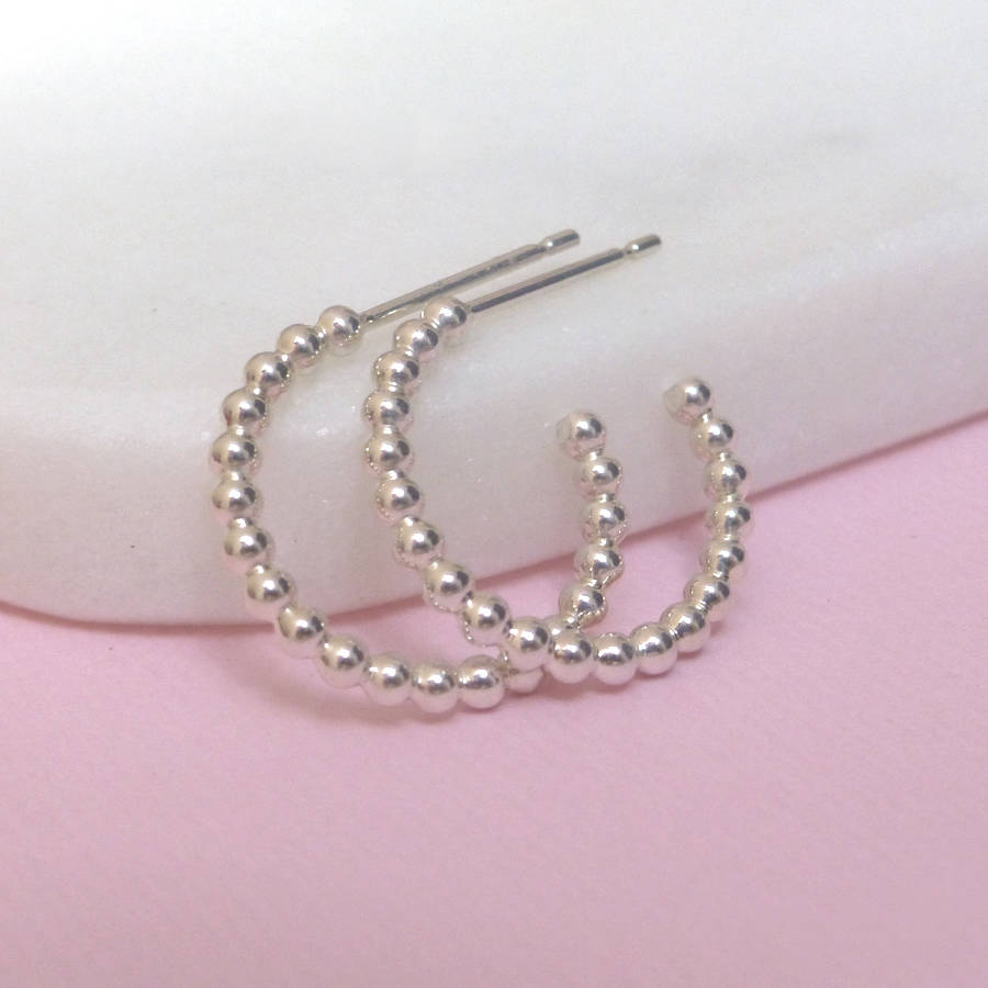 New silver beaded hoop earrings by xissjewellery | notonthehighstreet.com NV22