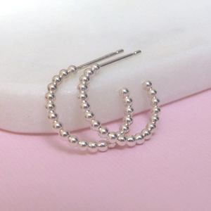 Silver Beaded Hoop Earrings - earrings
