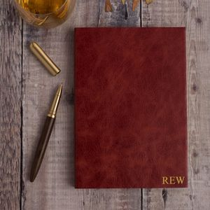 Personalised Notebook Leather Notebook With Rose Gold