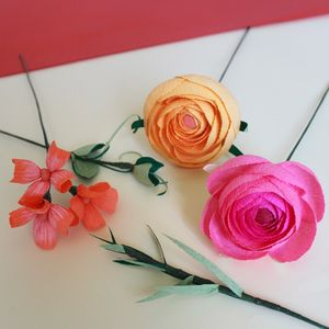 Paper Ranunculus Flower Bunch - artificial flowers