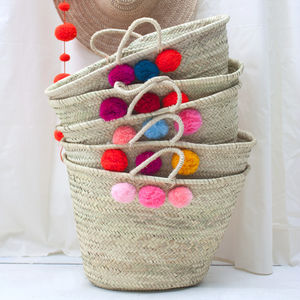Market Pom Pom Basket, Multi Colour - beach bags