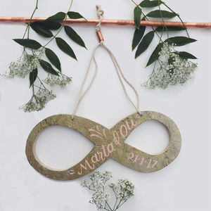 Personalised Infinity Symbol Wedding Sign - spring styling