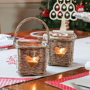 Set Of Two Wicker Heart Candle Holders