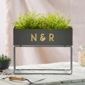 Personalised Grey Metal Standing Planter - new in garden