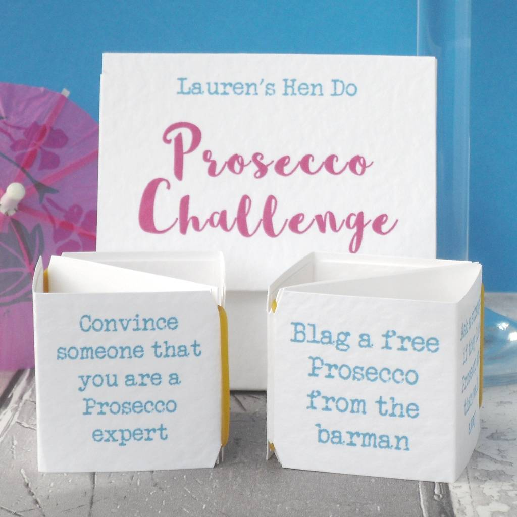 prosecco challenge pop up hen party game by paperbuzz ...