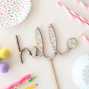 Liberty Print 'Hello' Baby Shower Cake Topper