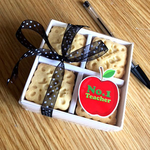 Handmade Thank You Teacher Shortbread Biscuits - biscuits and cookies