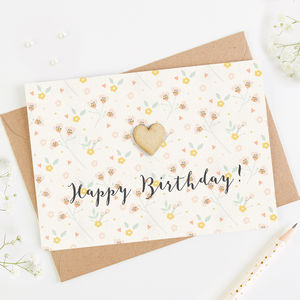 Happy Birthday Card Blush Pastel Floral