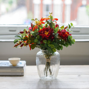 Autumnal Silk Flower Bouquet With Vase - rustic autumn wedding styling